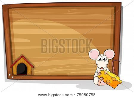 illustration of a mouse eating cheese