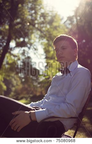 Elegant young handsome groom. Fashion portrait.