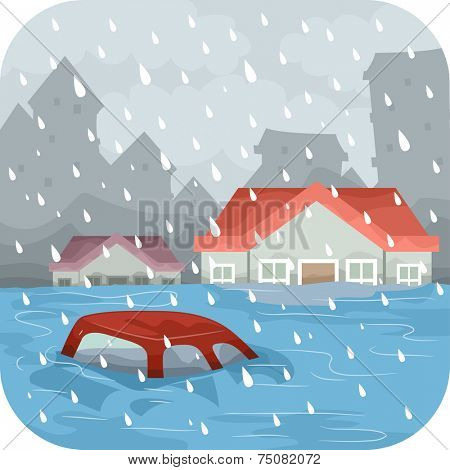 Illustration Featuring a Flooded City