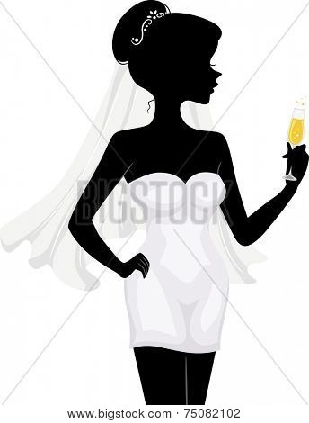 Illustration Featuring the Silhouette of a Bachelorette Holding a Glass of Wine