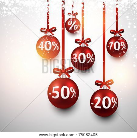 Set of red sale christmas balls background. Vector illustration.