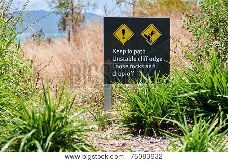 Warning sign keep to path