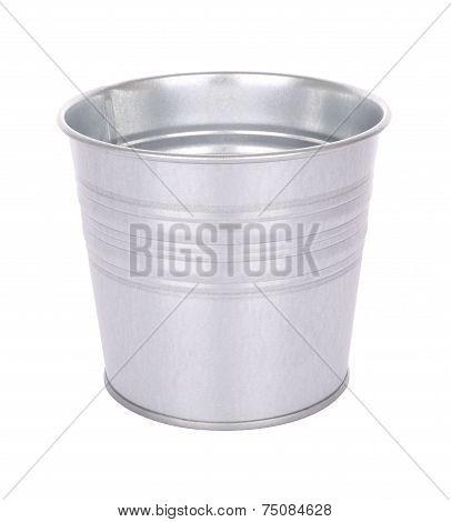 Grain metal bucket on white background.