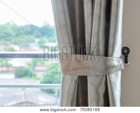 Glass Window With Curtain