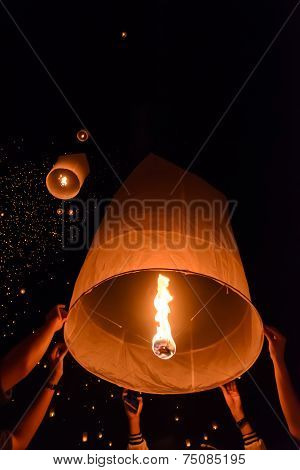 Sky Lanterns Festival Or Yi Peng Festival In Chiang Mai, Thailand