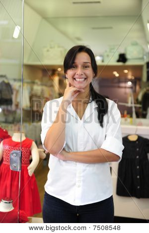Small Business Owner: Proud Woman Opening Her Children Clothing Shop