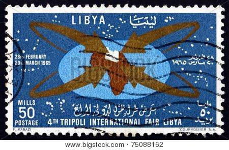 Postage Stamp Libya 1965 Map Of Africa With Libya