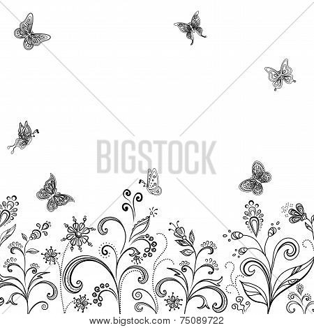 Flowers and butterflies, contours