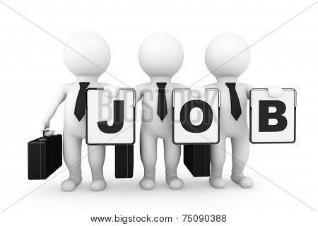 3D Businessmans With Job Sign
