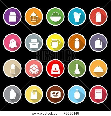 Variety Food Package Flat Icons With Long Shadow