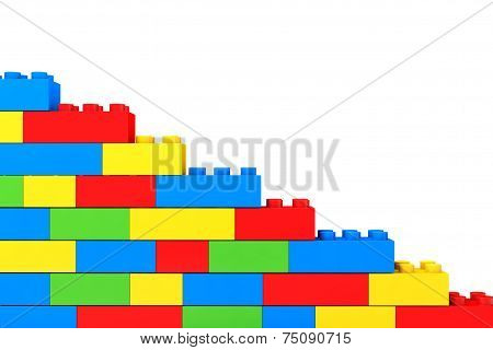 Wall From Children Plastic Blocks