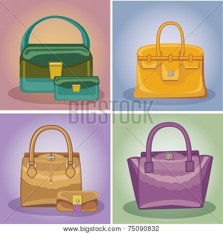 Coloured fashion women's handbags set