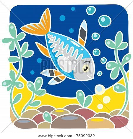 Children vector illustration of x-ray fish