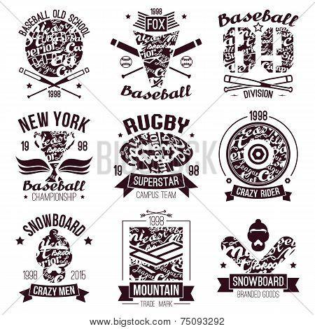 Baseball, Rugby, Snowboard, Skateboard College Sport Emblems