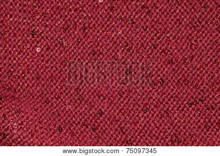Red Textile Fabric With Sequins As Background