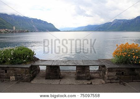 Stone Bench At Lake Geneva In Montreux (Switzerland)