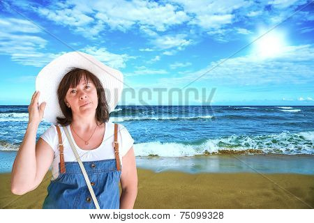 Middle-aged Brunette On The Beach