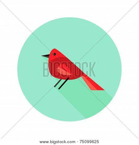 Christmas Bird Bullfinch Flat Icon