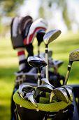 stock photo of caddy  - Dirty golf clubs - JPG