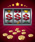 stock photo of coin slot  - Slot machine with dollar signs - JPG