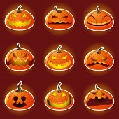 foto of halloween characters  - Collection Sets of Halloween Pumpkin Character Emoticon Icons - JPG