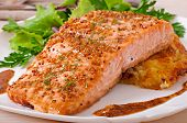 picture of salmon steak  - Baked salmon with honey - JPG