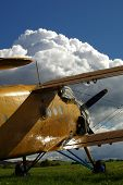 pic of biplane  - Sporting biplane aircraft prepared on the tarmac - JPG