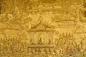 stock photo of mural  - Mural detail Wat Mai Luang Prabang Laos - JPG