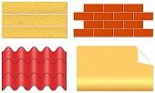 picture of shingles  - isolated wood boards bricks ply shingles and wallpaper set for home repair - JPG