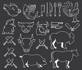 stock photo of bundle  - Vector farm animal bundle for any use - JPG