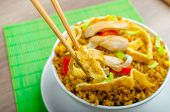 pic of crispy rice  - Chicken curry rice with crispy chinese omellete chinese chopsticks - JPG