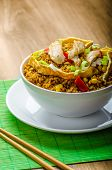 stock photo of crispy rice  - Chicken curry rice with crispy chinese omellete chinese chopsticks - JPG