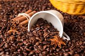 pic of inverted  - inverted cup with coffee beans close up - JPG