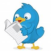 stock photo of cartoon character  - Clipart Picture of a Blue Bird Cartoon Character Reading a Newspaper - JPG