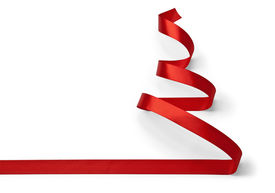 picture of ribbon decoration  - Christmas tree made of red ribbon isolated on white - JPG
