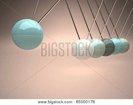 3d image of newton cradle