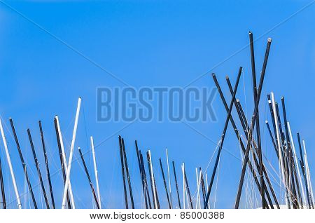 Mastheads, Sailing Boats Against Blue Sky
