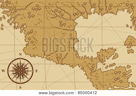 Old Map With A Compass And Trees