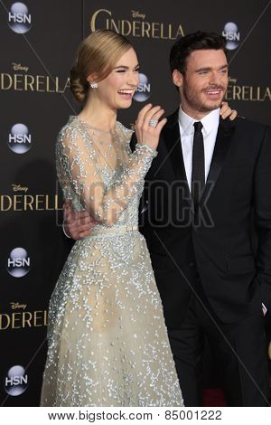 LOS ANGELES - MAR 1:  Lily James, Richard Madden at the