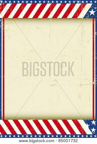 American grunge frame. A grunge greeting american poster for your message