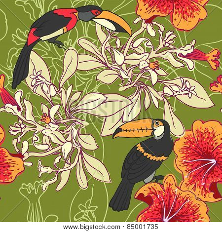 Seamless floral background with petunia toucan