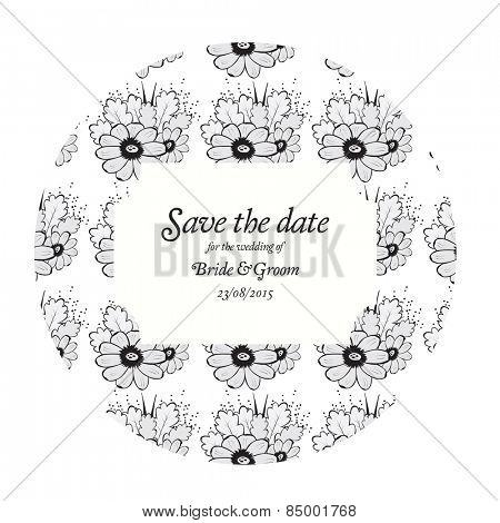 Wedding invitation cards with grey flowers and oak leaves