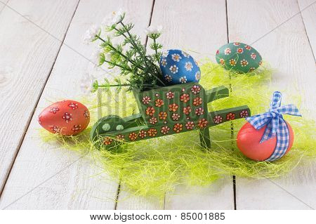Trolley With Eggs And Flowers