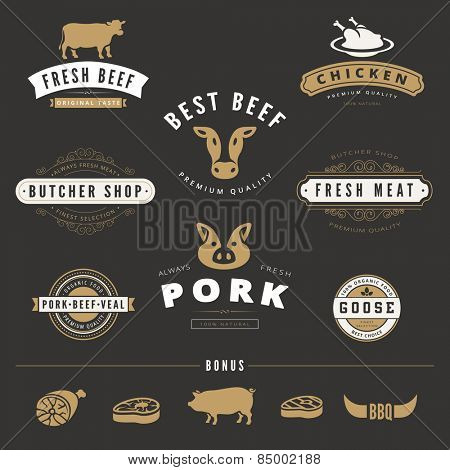 Grill BBQ Cow PIG Retro Vintage Labels Logo design vector typography lettering templates. 