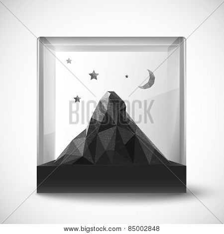 polygon mountain in a glass holder - vector