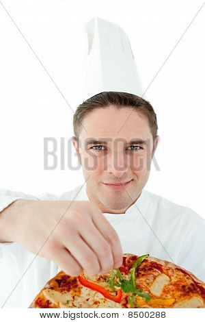 Sophisticated Male Cook Holding A Pizza