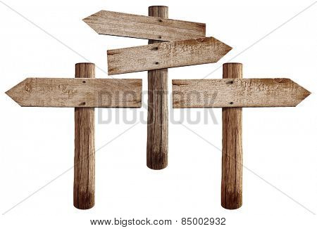 Old wooden road signs right, left and both arrows isolated