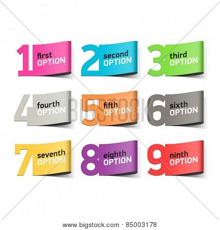 Options numbers, infographics element. Vector.