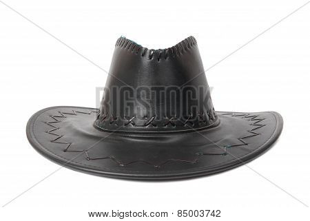 Black Leather Cowboy's Hat