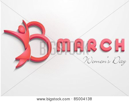 Happy Women's Day celebration with 3D text 8 March and pink human symbol on grey background.